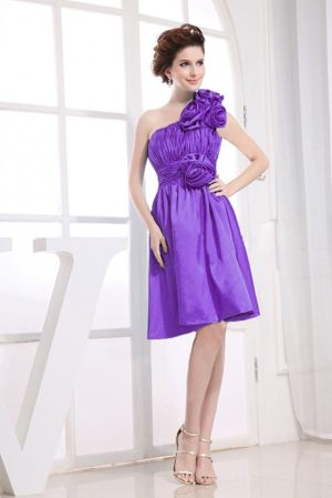 Floral One Shoulder Purple Knee-length Formal Bridesmaid Dress