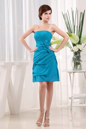 Turquoise Strapless Column Informal Bridesmaid Dresses in Olivia