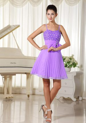 Spaghetti Straps Beaded Bowknot Lilac A-line Bridesmaid Dress