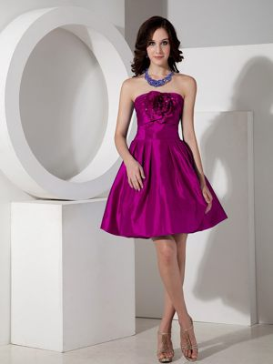 Fuchsia A-line Strapless Bridesmaid Gowns in Thompson Falls