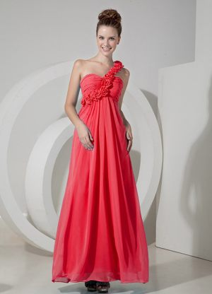 Coral Red Empire One Shoulder Bridesmaids Dresses Floor-length