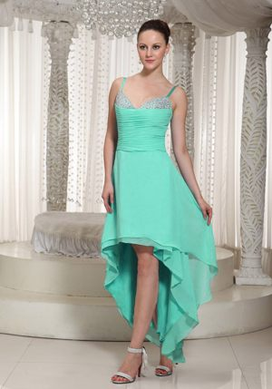 High-low Mint Green Bridesmaid Gown with Spaghetti Straps Beaded