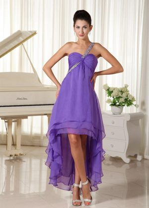 Beaded High-low One Shoulder Purple Wedding Outfits for Bridesmaid