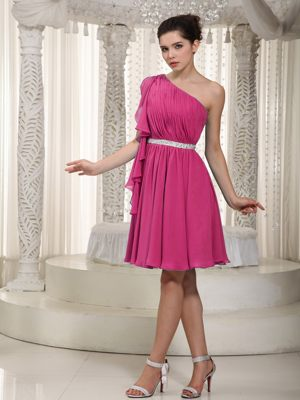 Empire One Shoulder Mini-length Beading Dress for Bridesmaid