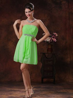 Strapless Spring Green Bridesmaid Gown with Beading Mini-length
