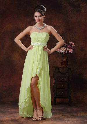 Yellow Green High-low Maternity Bridesmaid Dress Strapless with Belt