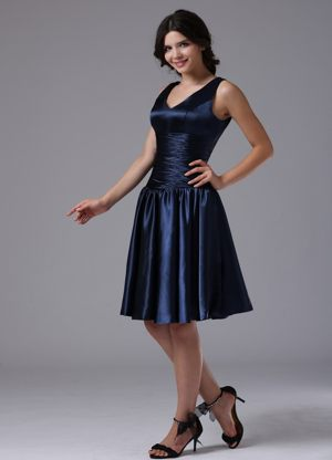 V-neck Empire Navy Blue Bridesmaid Dress in West Yellowstone