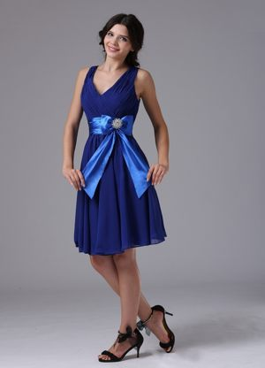 Peacock Blue Dress for Bridesmaid in Glendive with Bowknot