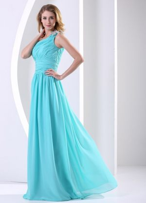 One Shoulder Ruched Turquoise Bridesmaid Dress For Wedding