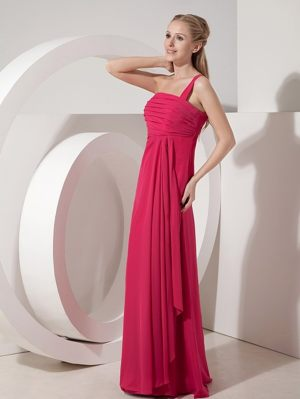 Junior Bridesmaid Dress One Shoulder in Fuchsia at Red Lodge