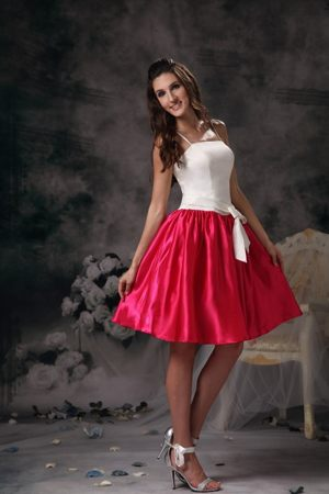 White and Hot Pink A-line Straps Mini-length Junior Bridesmaid Dress