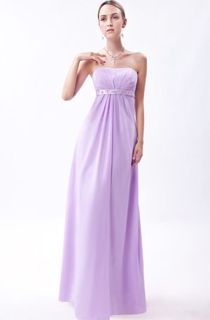 Lavender Empire Strapless Floor-length Dress for Bridesmaid