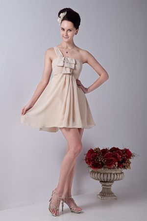Champagne One Shoulder Mini-length Junior Bridesmaid Dress