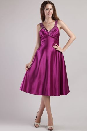 Bridesmaid Dress Fuchsia Empire Beading V-neck Ankle-length