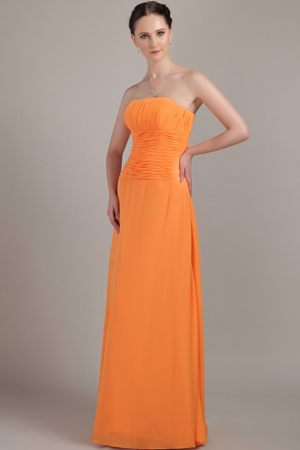 Orange Column Strapless Floor-length Dresses for Bridesmaid