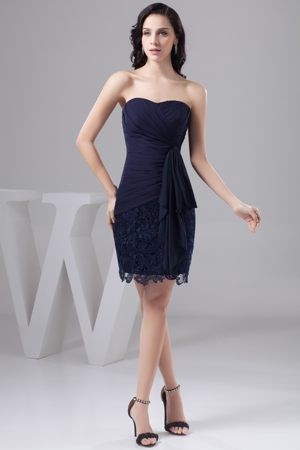 Navy Blue Bowknot Lace Column Wedding Outfits For Bridesmaid