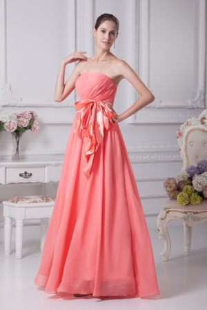 Strapless Floor-length Bridesmaid Dress with Ribbon in Watermelon