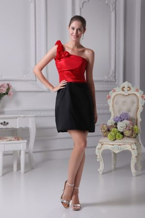 Black and Red Ruffled Single Shoulder Dress for Bridesmaid in Libby