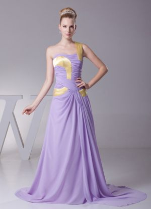 Lilac One Shoulder Ruched Brush Train Maternity Bridesmaid Dress