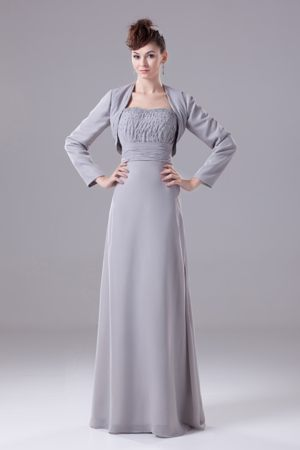 Beading Strapless Long Plus Size Bridesmaid Dress in Gray