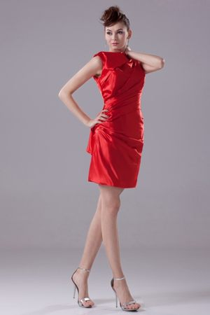 Ruched High Neck Sheath Mini-length Red Junior Bridesmaid Dress