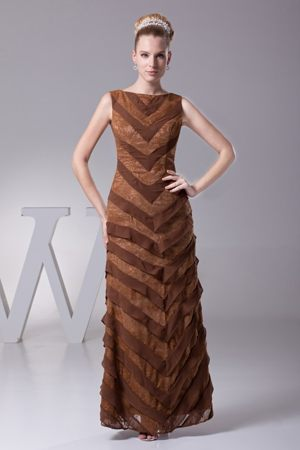 Lace Bateau Ankle-length Layered Brown Maternity Bridesmaid Dress