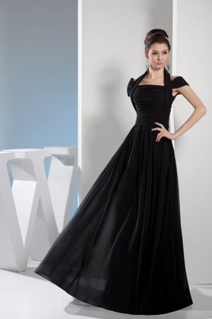 Halter Top Floor-length Dress for Bridesmaid in Black at Whitefish