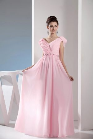 Empire V-neck Light Pink Long Bridesmaid Gowns with Beading