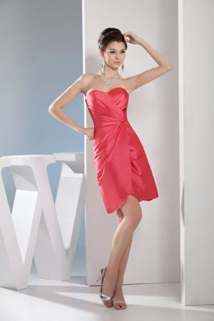 Sweetheart Short Formal Bridesmaid Dresses in Watermelon Red