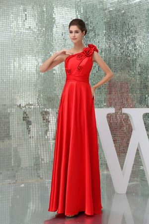 Floor-length One Shoulder Red Bridesmaid Dress with Hand Made Flower