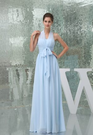 Halter Light Blue Bridesmaid Dress for Church Wedding with Sash
