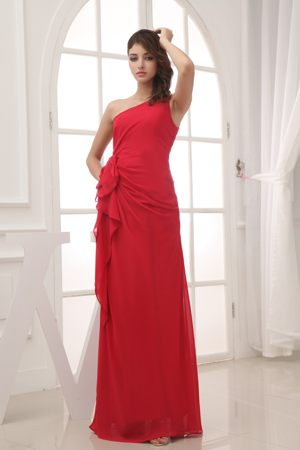 Red Column One Shoulder Long Bridesmaid Dress in Missoula