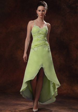 High-low Spaghetti Straps Appliques Yellow Green Bridesmaids Dresses