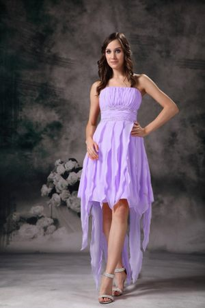 Lavender High Low Dress for Bridesmaid Strapless with Ruffles