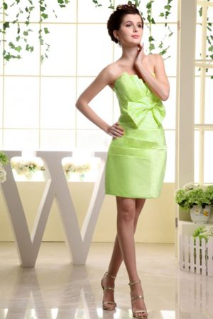 Yellow Green Strapless Mini-length Bridesmaid Dress with Bow