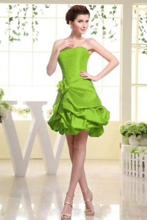 Lime Green Strapless Formal Bridesmaid Dresses with Pick-ups