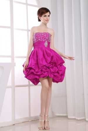 Beading Strapless Fuchsia Bridesmaid Gowns with Pick-ups in McLeod