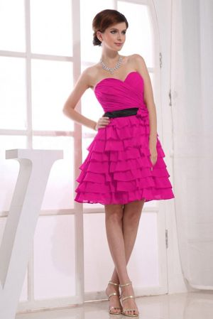 Sweetheart A-Line Layered Knee-length Fuchsia Bridesmaid Gown