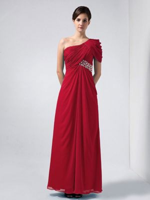 One Shoulder Bridesmaid Dress Wine Red Ankle-length Beaded