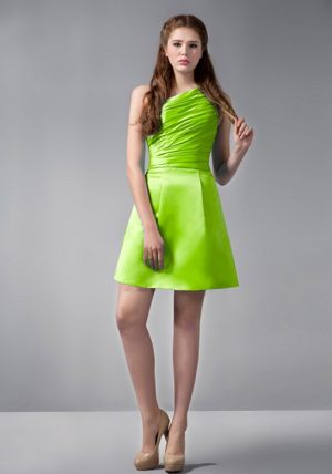 A-line One Shoulder Mini-length Bridesmaid Gowns in Spring Green