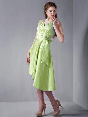 Yellow Green A-line Halter Asymmetrical Junior Bridesmaid Dress