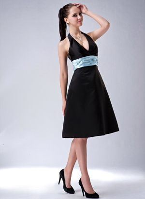 Black Princess Halter Bridesmaid Dress with Belt Knee-length