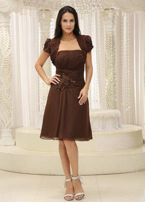 Strapless Short Informal Bridesmaid Dresses in Brown at Grenada