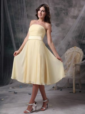 Junior Bridesmaid Dress Strapless Tea-length in Light Yellow