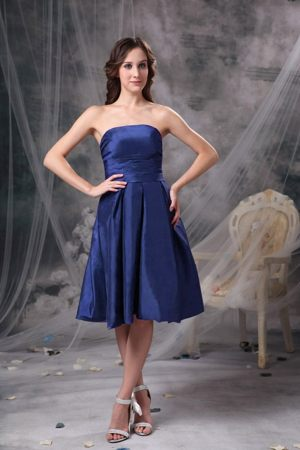 Blue Knee-length Bridemaid Dress for Church Wedding A-line Strapless