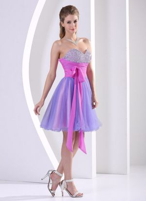 Multi-color Beaded Sweetheart Bridesmaid Gowns with Sash Knee-length