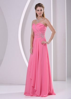 Sweetheart Beaded Pink Bridemaid Dress for Summer Wedding