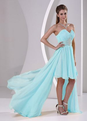 Bridesmaids Dressed High-low Sweetheart Beaded in Baby Blue