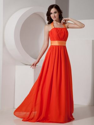 Orange Red Halter Bridemaid Dress for Church Wedding with Sash
