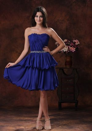 Mini-length Navy Blue Bridesmaid Gowns with Beaded Belt in Butte